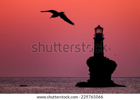 A seagull flying near the lighthouse Tourlitis of Chora in Andros island - stock photo