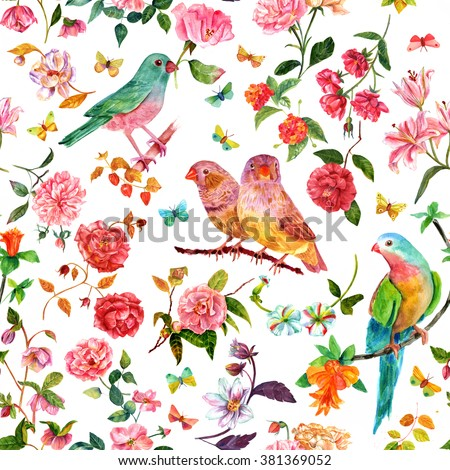 A seamless background pattern with vintage style watercolor drawings of flowers (roses, camellias, peonies, lilies, dahlias, and others), birds and butterflies - stock photo