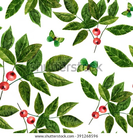 A seamless background pattern with watercolor drawings of green leaves and butterflies and red berries