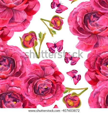 A seamless background pattern with watercolor drawings of ranunculus flowers and butterflies, hand painted in the style of vintage botanical art - stock photo
