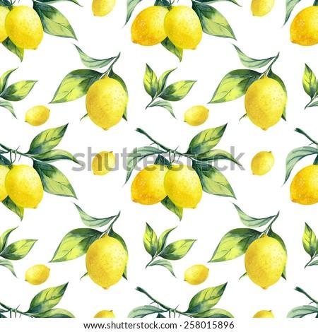 A seamless lemon pattern on white background. - stock photo
