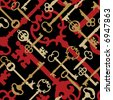 A seamless pattern of old-time skeleton keys in gold, red and black. - stock vector