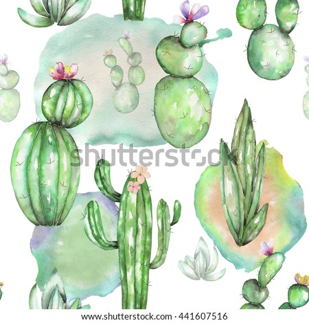 A seamless pattern with the watercolor various kinds of cactus, hand drawn on a white background - stock photo
