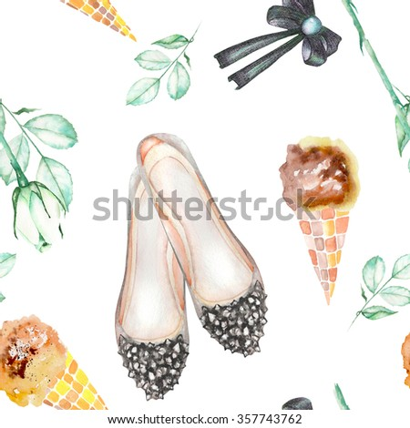A seamless pattern with the women's romantic watercolor hand-drawn elements: ice cream, rose flower, bow and woman ballet shoes. Painted on a white background. - stock photo