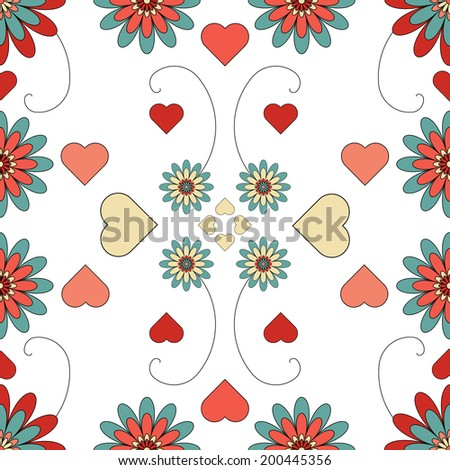 A seamless repeating flower patterned tile for backgrounds, textiles, paper patterns, gift wrap, fabric and more - stock photo