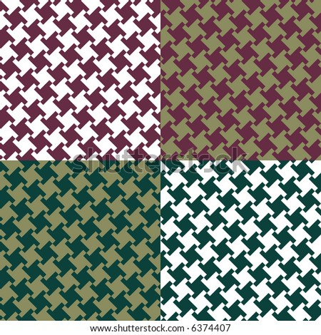 A seamless, repeating houndstooth pattern in four classic colorways. Vector format also available. - stock photo