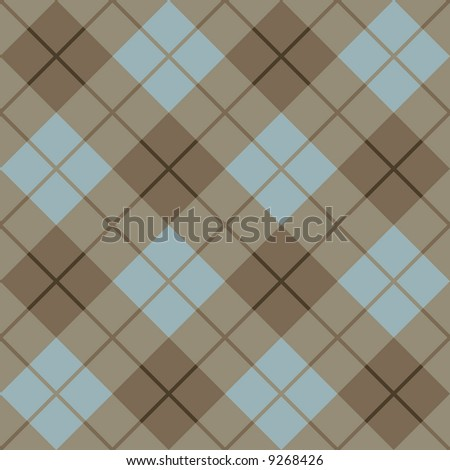 """A seamless 12"""" square plaid pattern in browns and blue. - stock photo"""