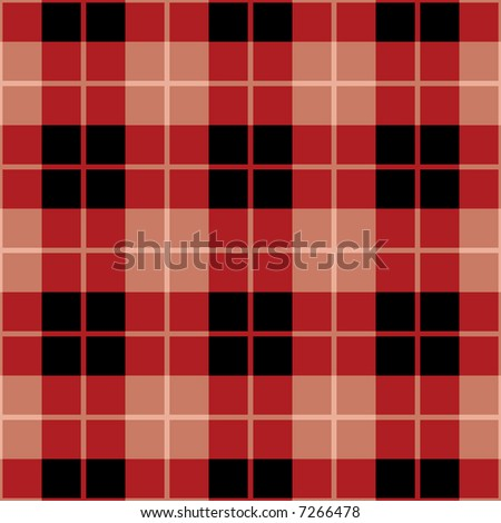 """A seamless 12"""" square plaid pattern in red and black. Vector format also available. - stock photo"""
