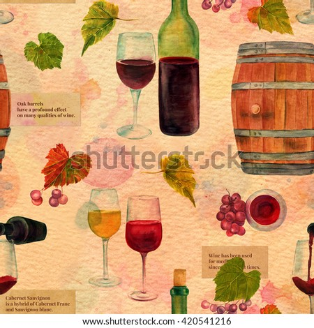 A seamless watercolor wine pattern with drawings of wine glasses, bottle, barrel, grapes and vine leaves, collaged vintage style, on a textured old paper background, with scraps of texts about wine - stock photo