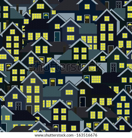 A seamlessly repeatable background depicting a crowded residential neighborhood at night. Raster. - stock photo
