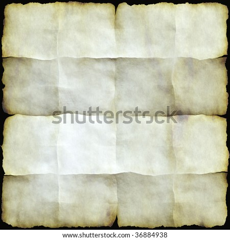 A seamlessly tiling texture. Illustration of parchent or paper singed round the edge and folded - stock photo