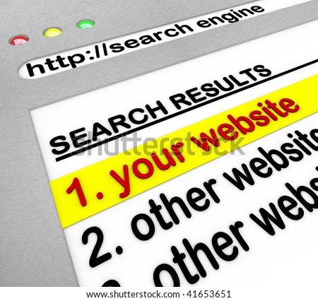 A search engine browser window shows your website as the top result - stock photo