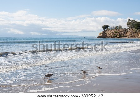 A seascape scene of Leadbetter Point in Santa Barbara, California.  Two stand-up paddlers can be seen in the distance. - stock photo