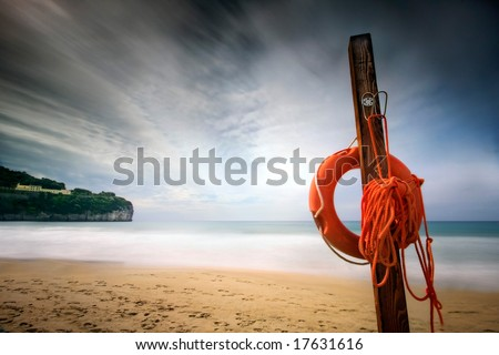 a seashore during the end of the summer when everything is gone - stock photo
