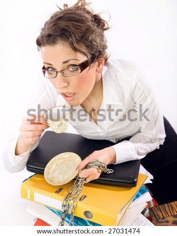 A secretary drinking coffee, standing - stock photo