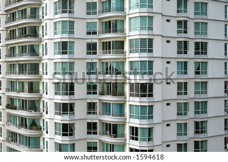 A section of modern tall apartment buildings - stock photo
