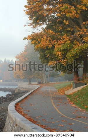A section of the Stanley Park seawall on a foggy, autumn morning. The pedestrian and cycle path circles the park and is a favorite destination for tourists and locals. Vancouver, British Columbia. - stock photo