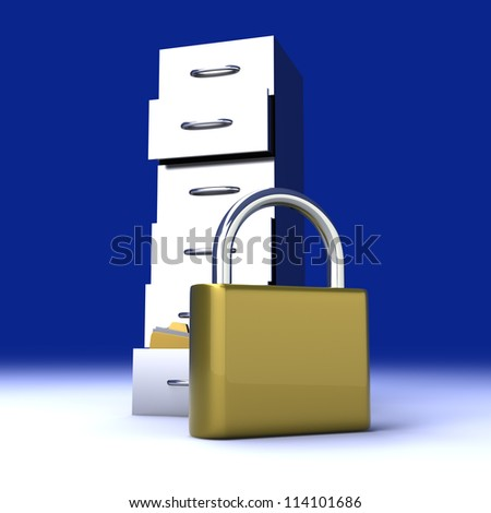A secure, locked, archive drawer. 3D rendered illustration. - stock photo