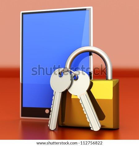 A secure Tablet PC. 3D rendered illustration. - stock photo