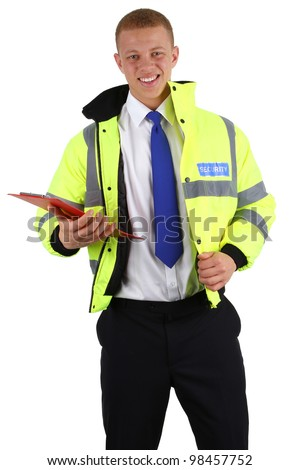 A security guard with a clipboard, isolated on white - stock photo
