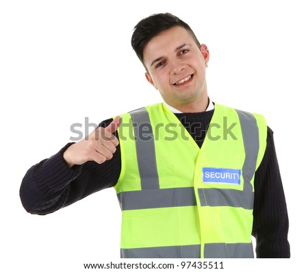A security guard with a thumbs up sign. Isolated on white - stock photo