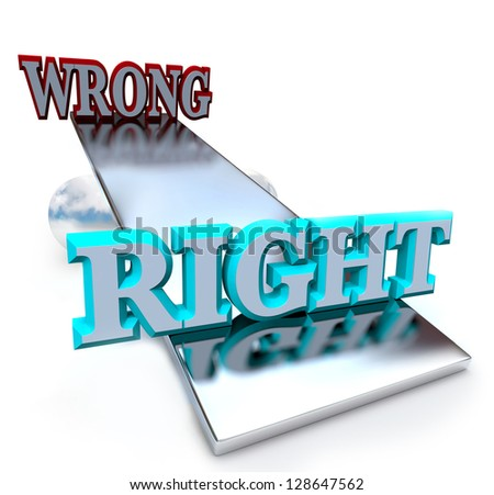 A see-saw balance tips in favor of doing right vs doing something wrong, weighing the options of these two moral choices - stock photo