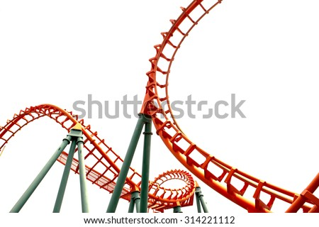 A segment of a roller coaster ,on white background - stock photo