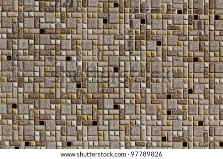 A segment of a tiled wall on a public building in Vienna - stock photo