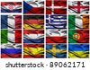 a selection of fabric flags of all the competing countries of the 2012 european championship football tournament. - stock photo