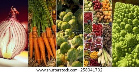 A selection of fresh vegetables - onion, carrots, sprouts, Romanesque broccoli and assorted vegetables on a Spanish market stall.