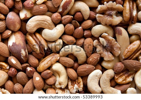 A selection of nuts: close-up