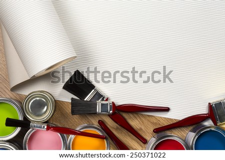 A selection of wallpaper and paints used in Household Maintenance and decorating - Space for Text - stock photo