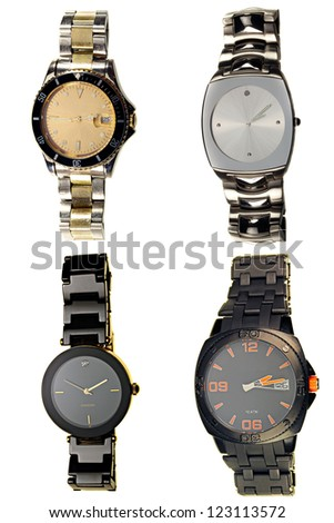 A selection of watches isolated on white - stock photo