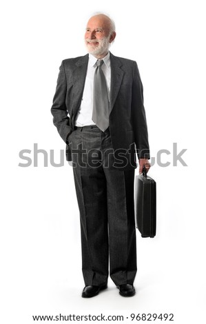 a seller holds a black briefcase - stock photo