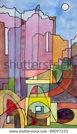 a semi-abstract watercolor and ink painting of buildings on the island of Capri - stock photo
