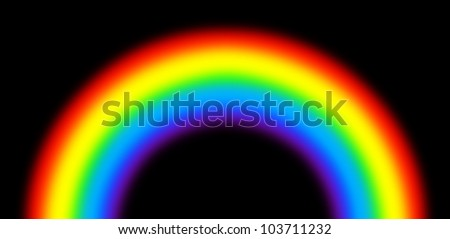 A semi-circle of the rainbow on a black background