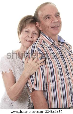A Senior Couple Isolated on a white Background - stock photo