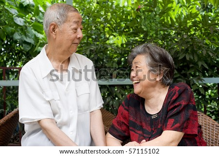 a senior couple soulful gaze - stock photo