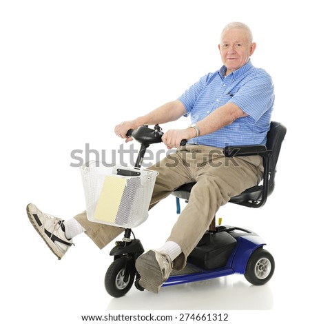 A senior man delightedly driving his electric scooter.  Motion blur on wheels.  On a white background. - stock photo