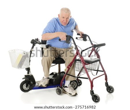 A senior man transferring from his electric scooter to his wheeling walker.  On a white background. - stock photo