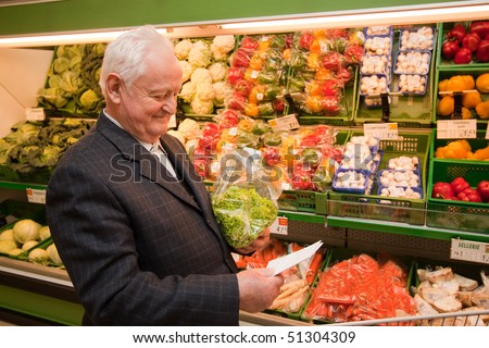 a senior when shopping for food in the supermarket
