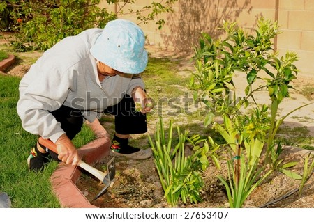 A Senior woman tending to a garden