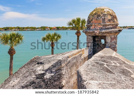 A sentry box turret overlooks Matanzas Bay at the Castillo de San Marcos, a seventeenth century Spanish Fort in Saint Augustine, Florida. - stock photo
