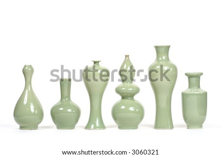 A series of 6 chic modern green vases - stock photo