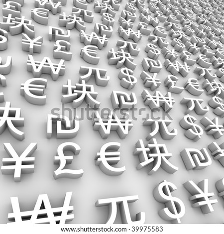 A series of global currency symbols on grey background - stock photo