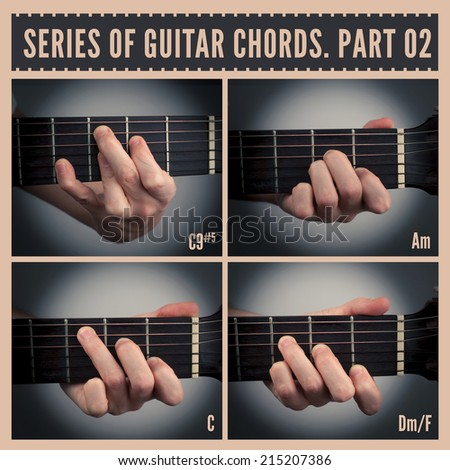 A series of guitar chords with symbols. Part 02 - stock photo
