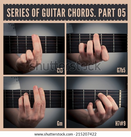 A series of guitar chords with symbols. Part 05 - stock photo