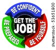 A series of motivational phrase in a circular diagram around the words Get the Job - stock photo