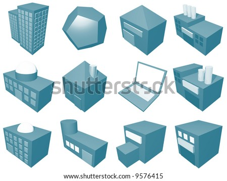 A series of objects for supply chain management diagrams and industry related. - stock photo