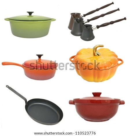 a series of photographs of kitchen utensils - stock photo